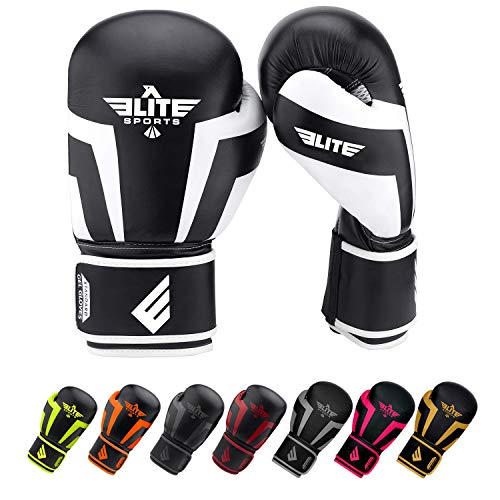 Elite Sports New Item Standard Adult Kickboxing, Muay Thai Sparring Training Boxing Gloves, White, 14 oz.