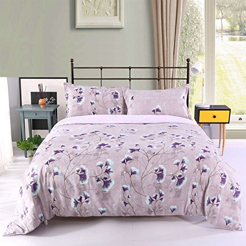 Beddinginn Floral Bedding Purple Bedding For Women Lavender Purple Fitted Duvet Cover Set 4pcs Bed Cover Set No (Lavender Duvet Set)