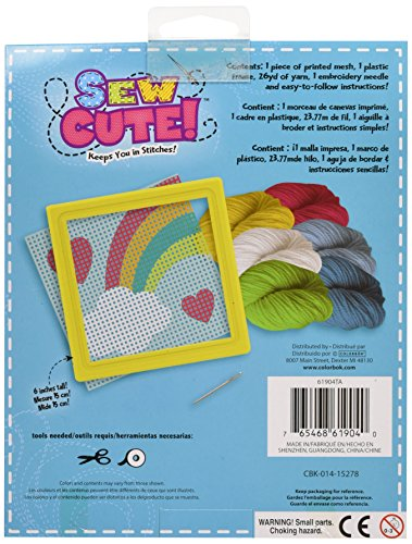 Colorbok Rainbow Learn To Sew Needlepoint Kit, 6-Inch by 6-Inch, Yellow Frame
