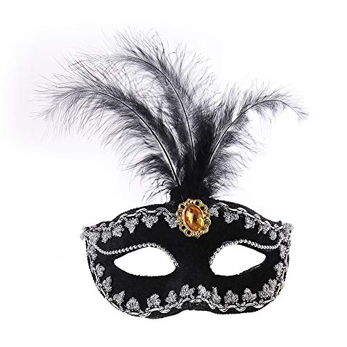 IDOXE Party Mask Woman Female Masquerade Masks Luxury Peacock Feathers Half Face Mask Party Cosplay Costume Halloween Venetian Mask Black