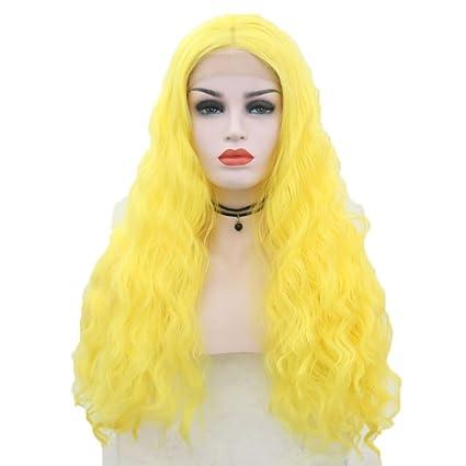 Las Mujeres Pelucas Onda Natural Largo Rizado Para Mujeres Cosplay Peluca Amarilla