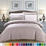SUSYBAO 2pc Bedding Cotton Duvet Cover & Pillow Sham Set, Twin, Taupe Deal (Small Image)