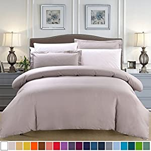 SUSYBAO 100% Natural Cotton 3 Pieces Duvet Cover Set Queen Size 1 Duvet Cover 2 Pillow Shams Taupe Hotel Quality Soft Breathable Hypoallergenic Fade Stain Resistant Solid Bedding with Zipper Ties