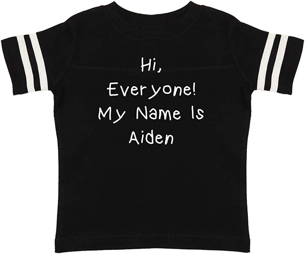 Everyone Mashed Clothing Hi Personalized Name Toddler//Kids Sporty T-Shirt My Name is Aiden