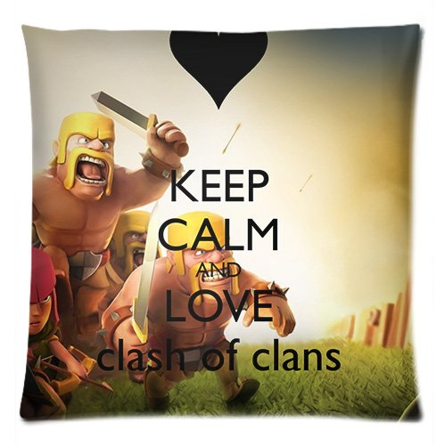 Keep Calm and Love Clash of Clans Standar Size Cotton Rectangle Print Pillowcase Covers Two Sides 20*30