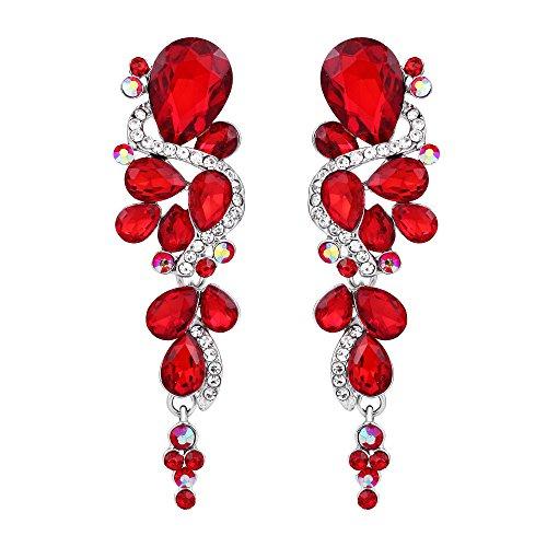 BriLove Women's Wedding Bridal Dangle Earrings Bohemian Boho Crystal Multiple Teardrop Chandelier Long Earrings Silver-Tone Ruby Color ()