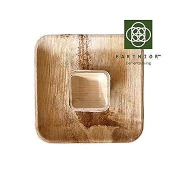 Combo de 10 cuencos y platos para snacks y salsas desechables, ecológicos y compostables y biodegradables premium de Earthior con bolsa de yute gratis: ...