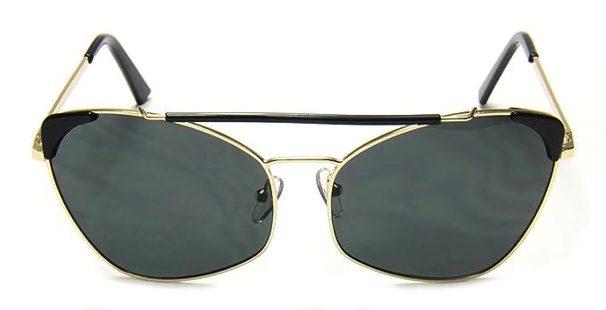 b835de4ae75e Tantino Women's Cat Eye Sunglasses Designer Inspired Bar Gold Metal Double  Bridge (Black, UV400