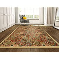 Ottomanson Ottohome Collection Contemporary Paisley Design Non-Skid (Non-Slip) Rubber Backing Modern Area Rug, 8'2' X 9'10', Beige