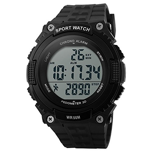 SKMEI Men's Military Black LCD Digital Sport Watch - 9