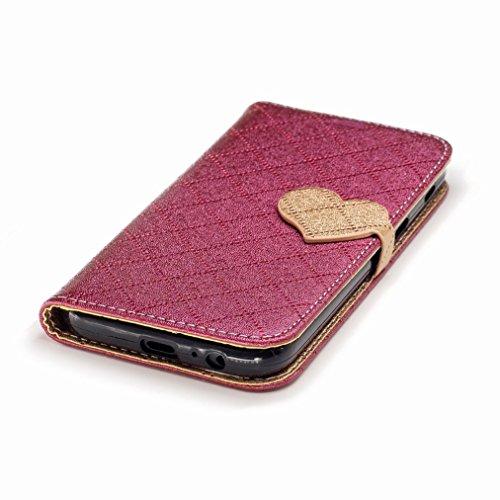 Yiizy Samsung Galaxy A5 (2017) Custodia Cover, Amare Design Sottile Flip Portafoglio PU Pelle Cuoio Copertura Shell Case Slot Schede Cavalletto Stile Libro Bumper Protettivo Borsa (Rosso)