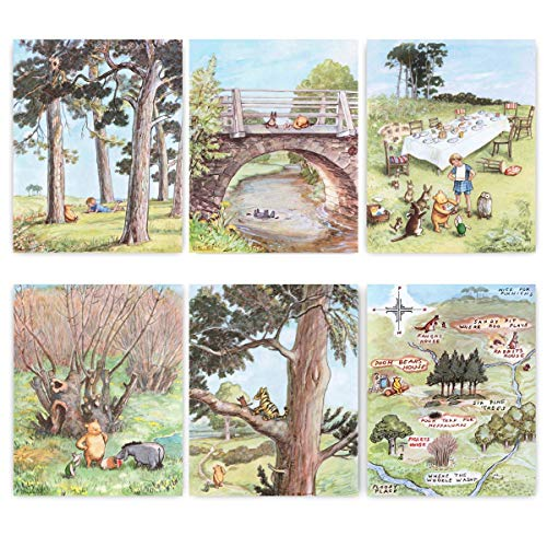 "(Set of 6) Classic Winnie the Pooh Art (Baby Girls Boys Prints, Nursery Wall Decor)""Winnie"