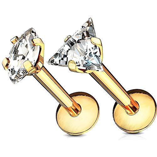 MoBody 2PCS Labret Piercing Studs Set 16G Crystal Clear CZ Internally Threaded Monroe Lip Ring Helix Earring (Gold-Tone - 6mm)