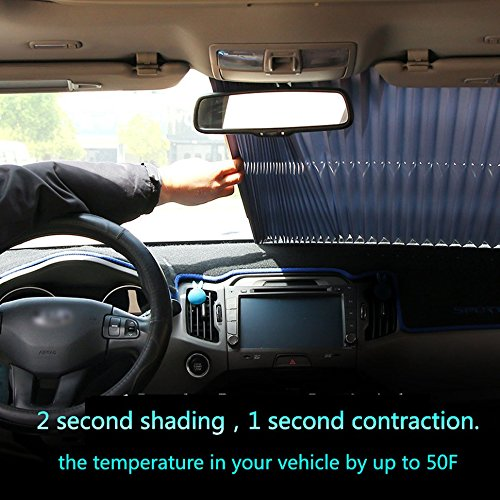 Car Windshield Sun Shade- Accordion Style Automatic retractable Windshield Shade Blocks UV Rays Sun Visor Protector Select Size Chart with Your Vehicle by (46cm(Front)) CBHQUSF