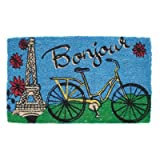 Bicycle in Paris Hand Woven Coconut Fiber Doormat, 18 by 30-Inch