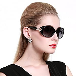 Duco Women's Shades Classic Oversized Polarized Sunglasses 100% UV Protection 1220 Black Frame Gray lens