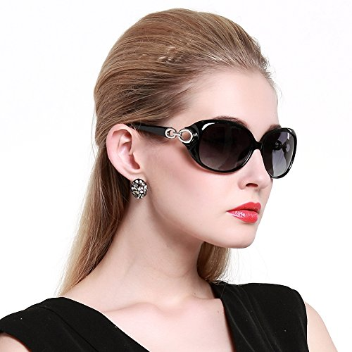 Duco Women's Shades Classic Oversized Polarized Sunglasses 100% UV Protection 1220 Black Frame Gray - Women Fit Asian Sunglasses For
