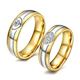 AnaZoz Stainless Steel Couple Rings With Names Women Size 8 & Men Size 7