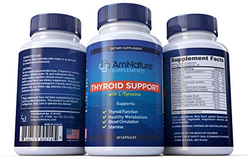 Cheap AmNature Thyroid Support Supplement with L-Tyrosine -support Hair Loss, Metabolism, Stamina and Blood Circulation, 60 Capsules
