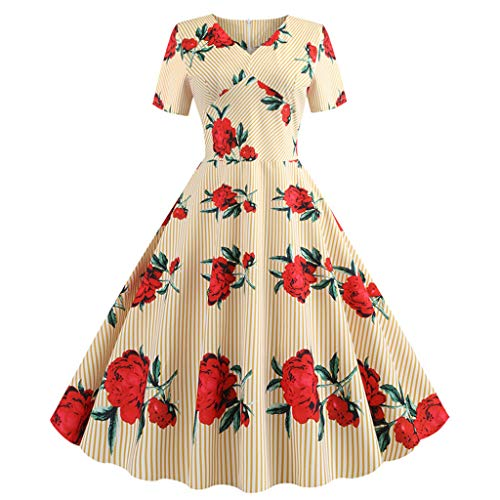 VOWUA Womens 50s Dresses Elegant Vintage Short Sleeve Swing Printed Casual Evening Party Prom Dress