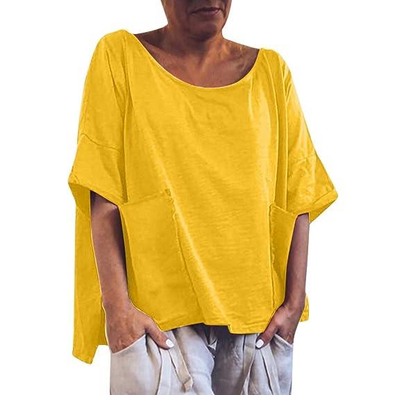 4344b2be832d Camiseta Casual Holgada para Mujer Camiseta Casual con Cuello En O ...