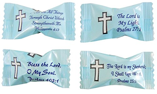 Party Sweets Bible Verse Buttermints by Hospitality Mints, Appx 300 mints, 7-Ounce Bags (Pack of 6)