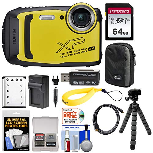 Fujifilm FinePix XP140 Shock & Waterproof Wi-Fi Digital Camera (Yellow) with 64GB Card + Battery + Charger + Case + Tripod + Kit
