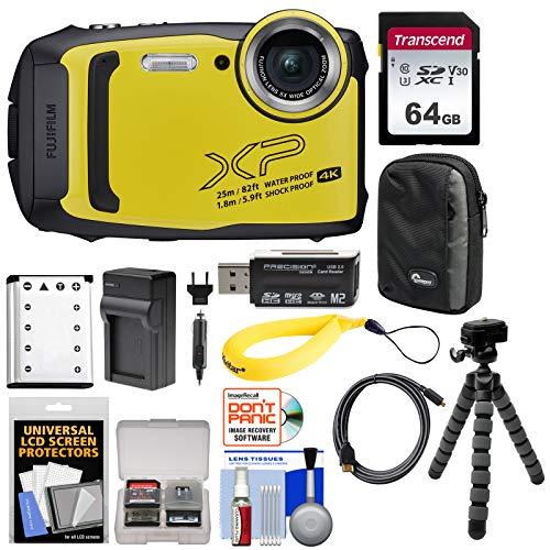 Fujifilm FinePix XP140 Shock & Waterproof Wi-Fi Digital Camera (Yellow) with 64GB Card + Battery + Charger + Case + Tripod + Kit (Waterproof Camera Fujifilm)