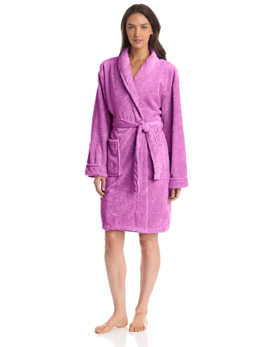 Seven Apparel Hotel Spa Collection Popcorn Jacquard Bath Robe, Lavender