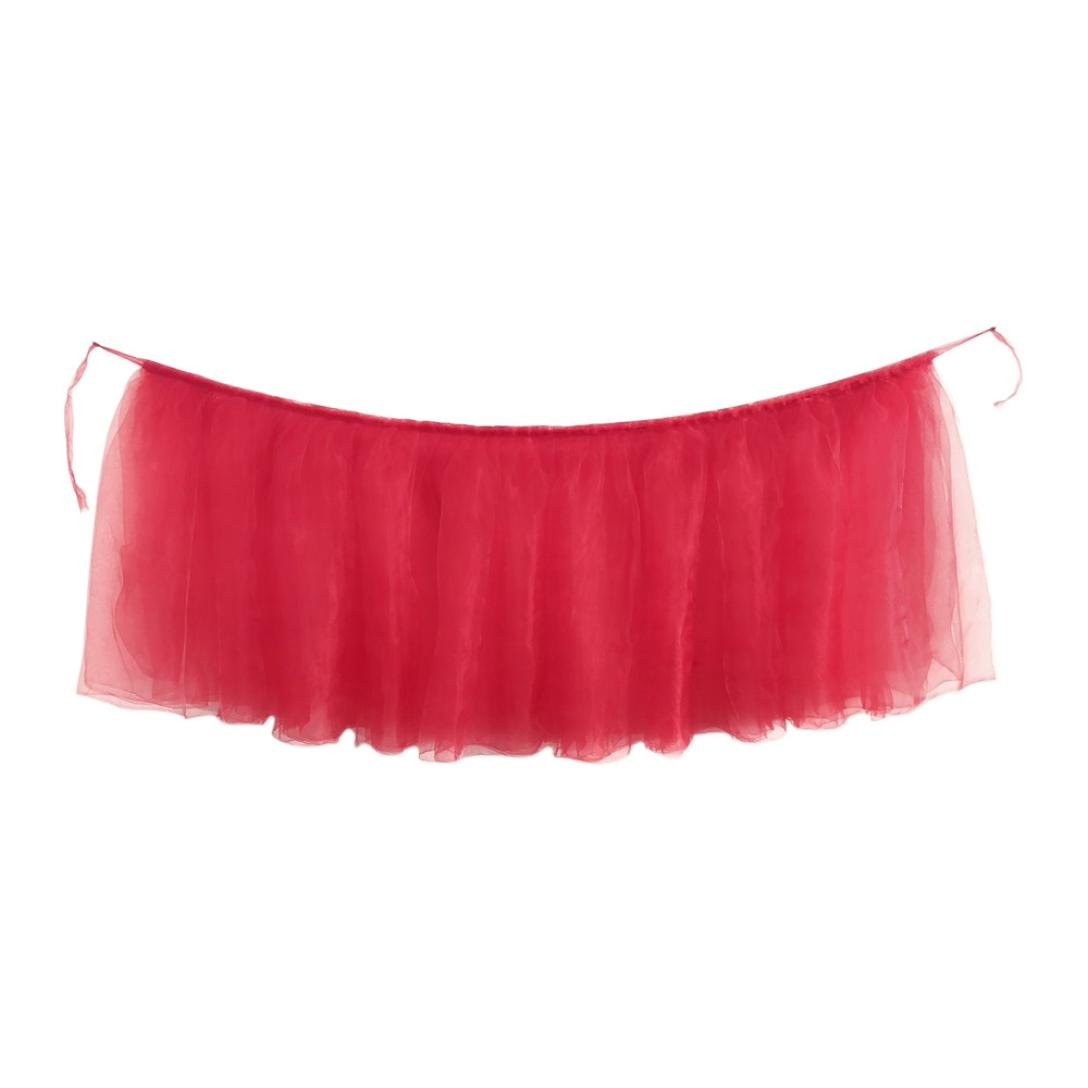 Tutu Table Skirt, Iuhan Fluffy Table Skirt Tulle Tableware Queen Wonderland Table Cloth Skirting Romantic for Party,Wedding,Birthday Party&Home Decoration,Table Skirting (B-Red)
