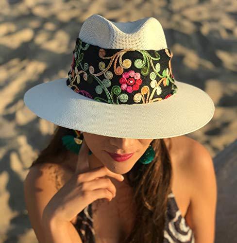Sombrero Lona Fina con banda bordada a mano