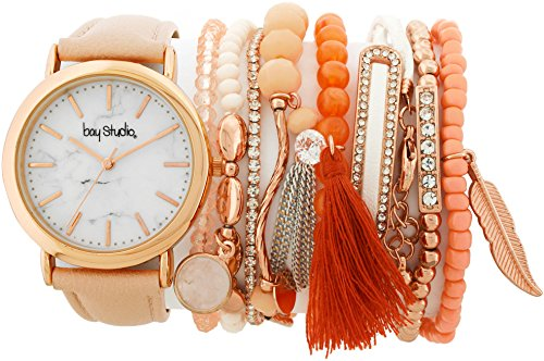 Coral Watch Bracelet - Bay Studio Womens Strap Watch & Bracelet Set One Size Coral multi