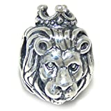 Solid 925 Sterling Silver ''Lion Wearing Crown'' Charm Bead 2909 for European Snake Chain Bracelets