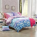 Zhiyuan 4pcs Colorful Cloud Pattern Duvet Cover Flat Sheet Pillowcases Set, Queen