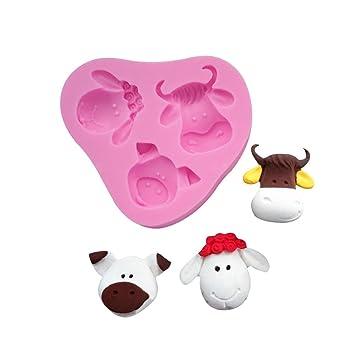 SEPTEMBER-EUROPE Moldes de silicona para jabón de animales de dibujos animados con cabeza de oveja para fondant, bricolaje, azúcar, decoración de pasteles, ...