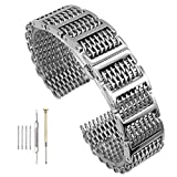 20mm/22mm24mm Shark Mesh H Link Butterfly Polished Stainless Steel Watch Band Butterfly Buckle Silver/Black (20mm, Silver)