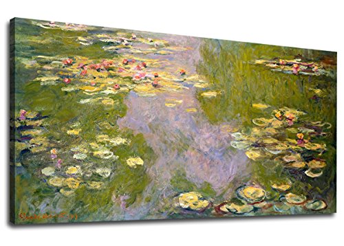 Art Garden Canvas (yearainn Canvas Wall Art Water Lilies 1919 Claude Monet Panoramic Blue Garden Scenery Painting - Long Canvas Artwork Contemporary Nature Picture for Home Office Wall Decor 20