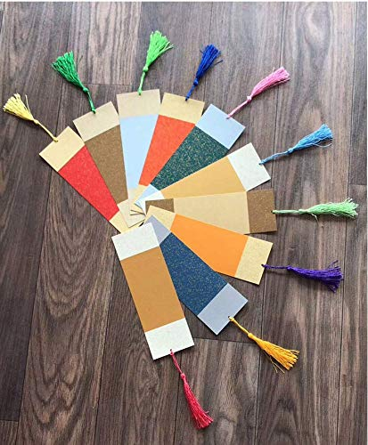 Chris.W 20Pcs Blank Xuan Paper Bookmarks with 20 Colorful Tassels - Chinese Art Paper for Chinese Calligraphy - Great Gift Idea for Dragon Boat, Mid-Autumn, Spring Festival(Mixed Color)