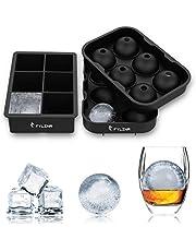 Fylina, vassoio per cubetti di ghiaccio, in silicone senza BPA, per cubetti di ghiaccio grandi, con coperchio, per whisky, cibo per bambini e cocktail