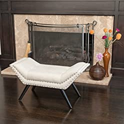 Great Deal Furniture 239316 Beverly Beige Fabric Ottoman Bench