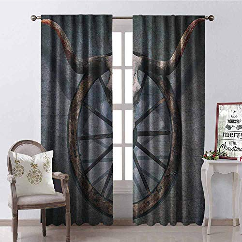Gloria Johnson Barn Wood Wagon Wheel Heat Insulation Curtain Wild West Themed Design with Bull Skull on Cart Wheel Scratched Wall for Living Room or Bedroom W52 x L108 Inch Multicolor