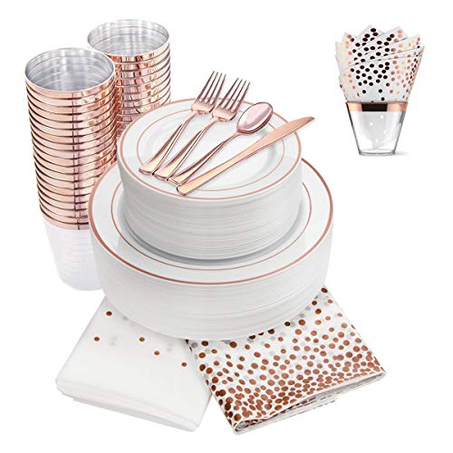 350 Piece Rose Gold Dinnerware Set, 100 Rose Gold Plastic Plates -50 Plastic Cups -50 Napkins -150 Cutlery set, 50 Guest Disposable Rose Gold Tableware Set (Bonus: 4 Pack Matching - Tableware 50