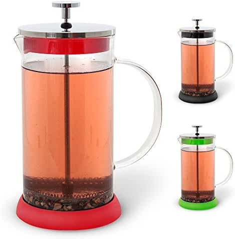 Teabloom French Tea Press 34 oz. - CLEARANCE - All Glass Body Coffee and Tea Press, Stainless Steel Filter Press, Removable Silicone Heat Resistant Base (Red)
