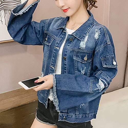 Cordoncino Tassels Elegante Giacca Autunno Stlie Corto Jacket Jeans Outerwear Primaverile Sciolto Donna Dietro Moda Blau Casual Strappato Maniche Grazioso xtEx7X
