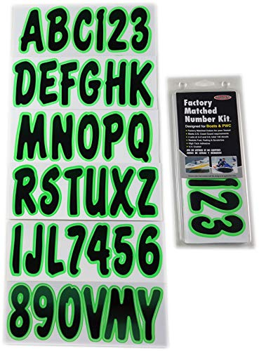 Hardline Products Series 200 Factory Matched 3-Inch Boat & PWC Registration Number Kit, Black/Kiwi