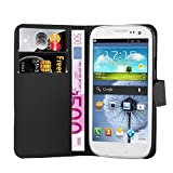 handy case samsung galaxy s3 mini - Cadorabo - Book Style Wallet Design for Samsung Galaxy S3 MINI / Value Edition (GT-i8190 / 8200) with 2 Card Slots and Stand Function - Etui Case Cover Protection Pouch in OXID-BLACK