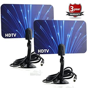 2 Digital Flat Thin Leaf Tv Antenna HDTV Antenna UHF/VHF FM Radio 2x Two Pack