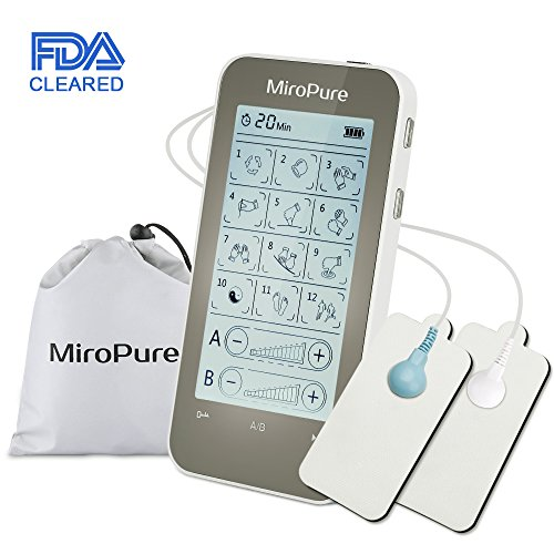 MiroPure Touch Screen Tens Unit and EMS Combination Unit with 12 Modes, FDA Cleared Electronic Massager Machine Device with 8 Pads for Treating Back Neck Stress Sciatic Pain and Muscle Relief