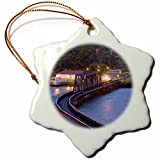 3dRose orn_86907_1 Panama Canal, Chagres River, Train Bridge SA15 CZI0508 Christian Ziegler Snowflake Porcelain Ornament, 3-Inch
