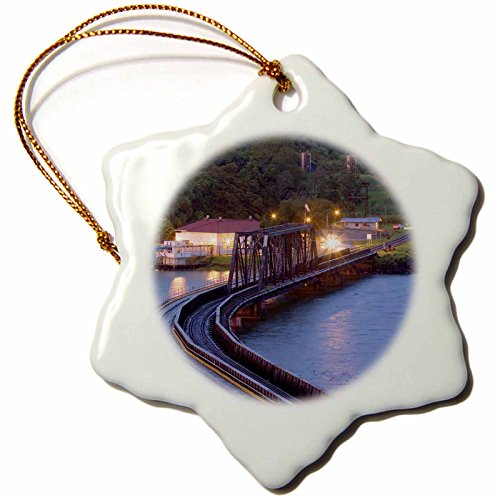 3dRose orn_86907_1 Panama Canal, Chagres River, Train Bridge SA15 CZI0508 Christian Ziegler Snowflake Porcelain Ornament, 3-Inch by 3dRose